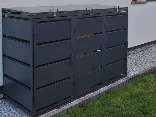 Obudowy do śmietników PPbin graphite (3x120 l)